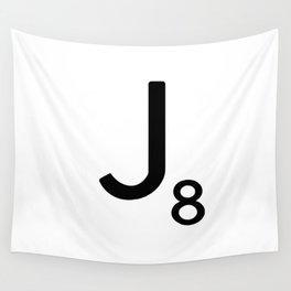 Letter J - Custom Scrabble Letter Tile Art - Scrabble J Wall Tapestry