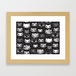 Rockabilly Cats with Pompadours Framed Art Print