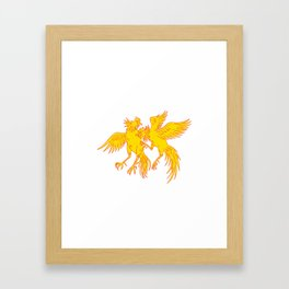 Cockfighting Roosters Cockerel Drawing Framed Art Print