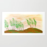 Trees in the wind Art Print