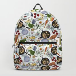 Seamless pattern with food. Fried eggs, fried mushrooms, bread, cheese, tomatoes, carrots, greens. Backpack