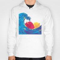 hokusai Hoodies featuring Hokusai Rainbow & Hibiscus_YR by FACTORIE