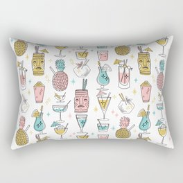 Tropical cocktails summer drinks pineapple tiki bar pattern by andrea lauren Rectangular Pillow