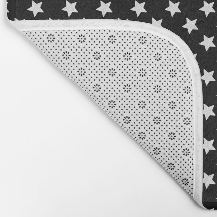 White Stars on Black Bath Mat