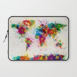 Map of the World Map Paint Splashes Laptop Sleeve