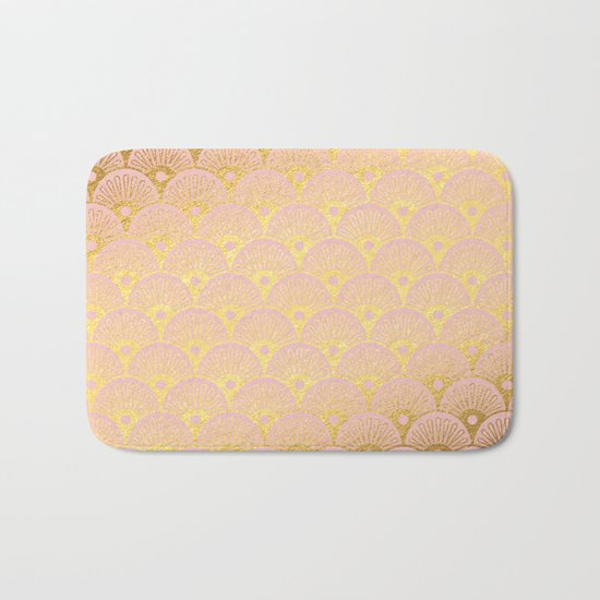 Gold and pink sparkling Mermaid pattern Bath Mat