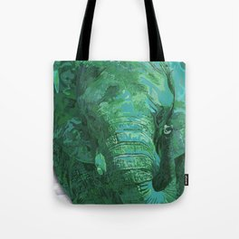 Light green painted Elephant art Tote Bag