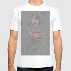 Rose Orchid Drawing Mens Fitted Tee White MEDIUM