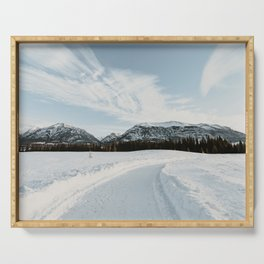 Snowy landscape photo print - Angel cloud in the skies Serving Tray