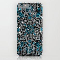 White-blue line mandala on black Slim Case iPhone 6