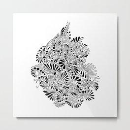 Black Abstract Art Illustration Drawing Painting Artwork (P12 275) Metal Print