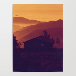 Monochrome Ombre Sunset Purple Orange Hues Cabin House by the Ocean Cliffs Poster