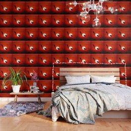 Blackbirds On Red Sunset. Wallpaper