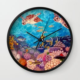 A Good Day for a Swim - Seaturtles in the reef Wall Clock