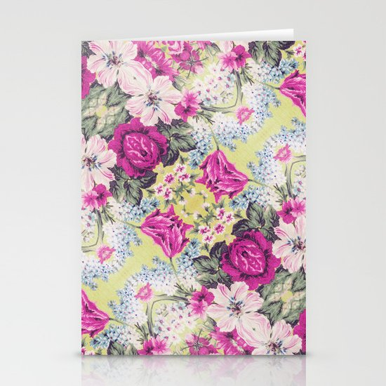 Trendy Vintage Purple Teal Floral Fashion Pattern Stationery Cards