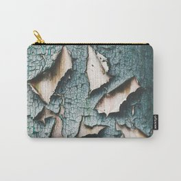 Rustic old light blue green peeling paint Carry-All Pouch