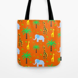 Jiraffe and elephant african pattern Tote Bag
