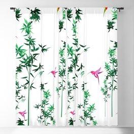 Hummingbird,tropical,bamboo,Japanese style decor.Green Blackout Curtain