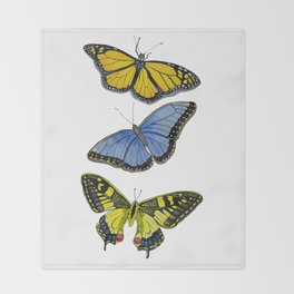 3 Butterflies Throw Blanket