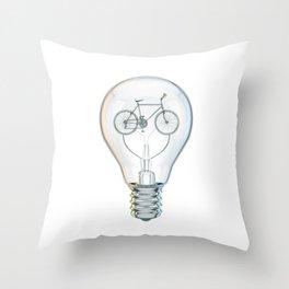 Light Bicycle Bulb Throw Pillow