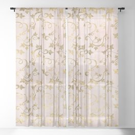 Pretty Pink and Gold Ivy Pattern Sheer Curtain