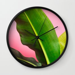 Banana Palm Leaves Pink Background Wall Clock