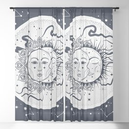 Sun and moon Sheer Curtain