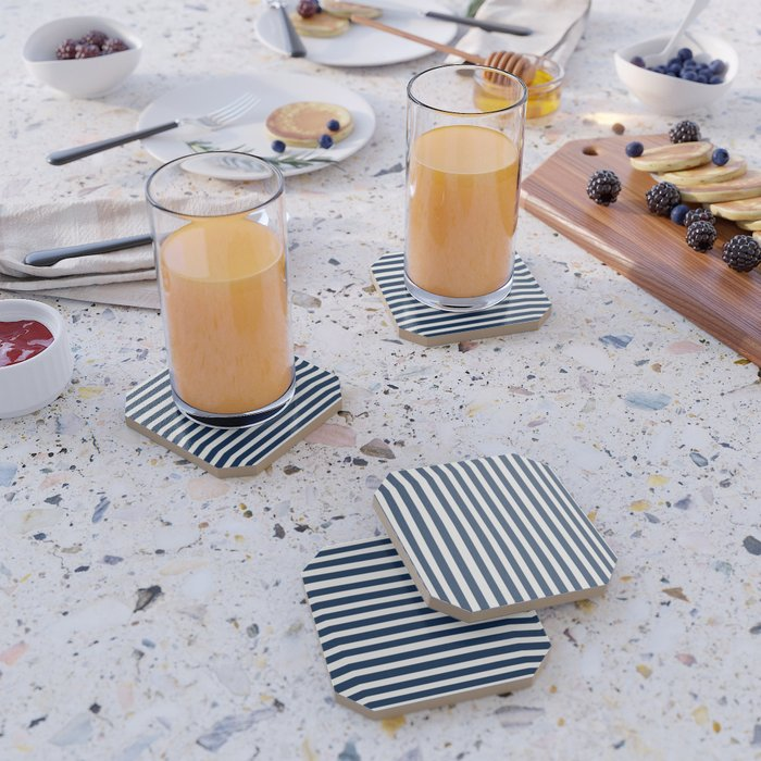 Navy-White ( Stripe Collection ) Coaster