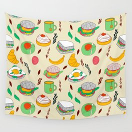 Breakfast & Lunch Food Collage Wall Tapestry
