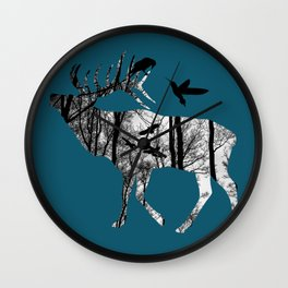 Forest Spirit - Black and White Wall Clock