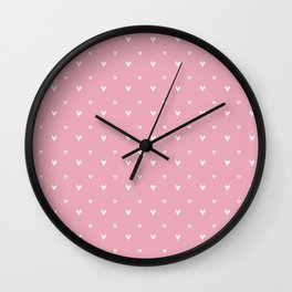 Small sketchy white hearts pattern on pink background Wall Clock