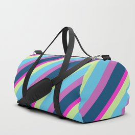 Summer fun Blue pink lime Colorful lines Duffle Bag