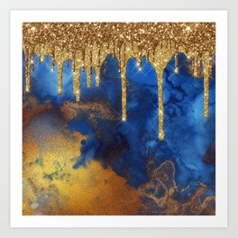 Gold Rain on Indigo Marble Art Print