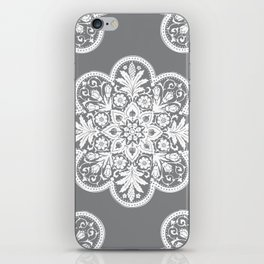 Floral Doily Pattern | Grey and White iPhone Skin