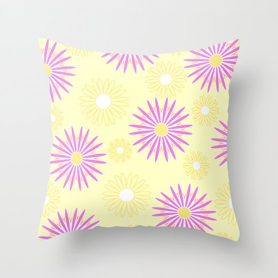 Pink yellow floral pattern Throw Pillow