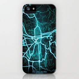 Heidelberg, Germany, Blue, White, Neon, Glow, City, Map iPhone Case