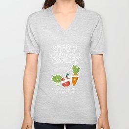 vegetarian vegan vegetables meat funny gift Unisex V-Neck