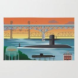 Groton, CT - Retro Submarine Travel Poster Rug