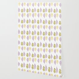 Abstract Stylized Floral Dandelion Repeating Pattern in Lilac Wallpaper