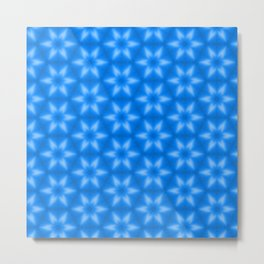Shiny blue wood texture snowflake stars pattern Metal Print