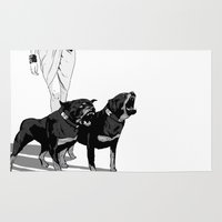 rottweiler Area & Throw Rugs featuring Fashion Rottweiler  by Gregory Casares
