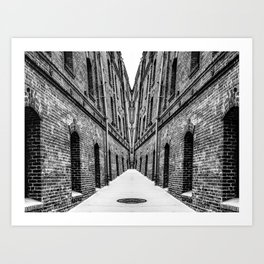 old brick buildings in black and white Art Print