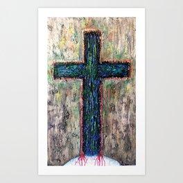 I AM ENOUGH - textured cross over the Earth, Christian faith art Art Print