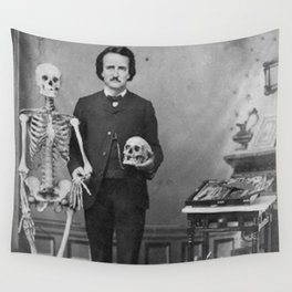 Edgar Allan Poe with Skull and Skeleton macabre black and white photograph Wall Tapestry