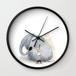 Brushing Elephant Wall Clock