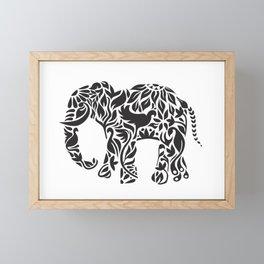 Elephant Flourish in Black Framed Mini Art Print
