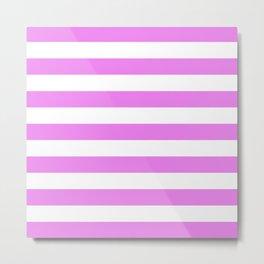 Horizontal Stripes (Violet/White) Metal Print