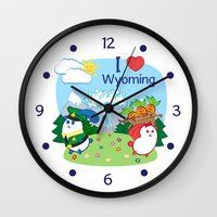 coraline Wall Clocks featuring Ernest and Coraline | I love Wyoming by Hisame Artwork