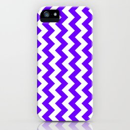 White and Indigo Violet Vertical Zigzags iPhone Case