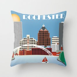 Rochester, New York - Skyline Illustration by Loose Petals Throw Pillow